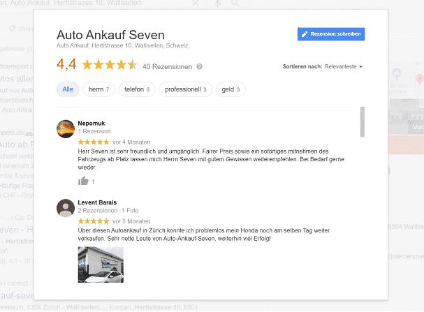 Goolge My Business Oberfläche Online - um Bewertungen zu lesen