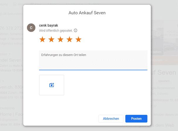 Google bewertungen Schreiben Auto-Ankauf-Seven.ch Online 2